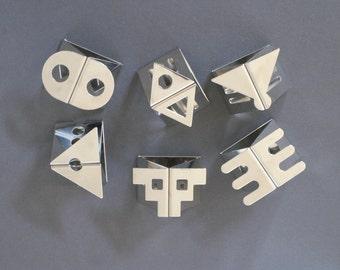NATHALIE du PASQUIER designed Napkin Rings for Bodum, Six Serviette Rings, 1980s Memphis Design, Chrome Napkin Rings, Swiss Made