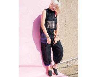 OOAK Artist Patchwork Linen Overalls Black 1