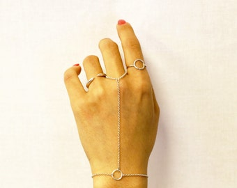 Halo Slave Bracelet - Simple Hand Chain Bracelets in 14K Gold filled and Sterling silver  EB023