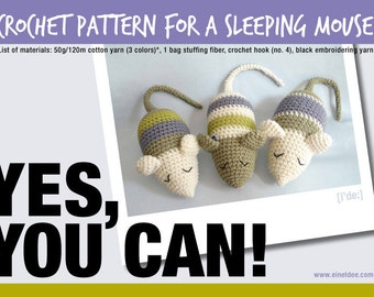 Crochet pattern for a sleeping mouse