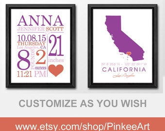 baby announcement wall art, baby custom details, state baby, home state baby with birth announcement, nursery birth print, baby name art