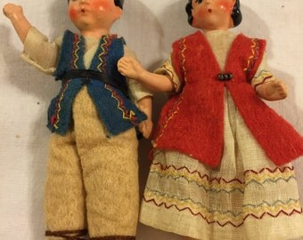 Sweet pair of Vintage painted bisque dolls/regional costumes