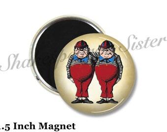 Tweedledee and Tweedledum - Fridge Magnet - Alice in Wonderland - 1.5 Inch Magnet - Kitchen Magnet
