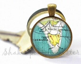 Tasmania Keychain - Vintage Map Keychain - Tasmania Key Chain - Tasmania Map Keychain - Tasmania Map Key Chain