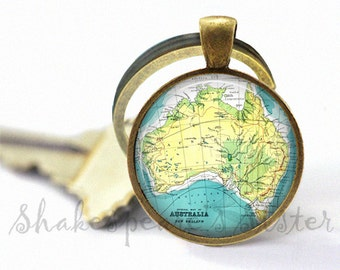 Australia Map Keychain - Australia Key Chain - Vintage Map Keychain - Australia Key Fob - Map Key Chain