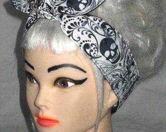 Rockabilly Pinup Hair Wrap Scarf skinny narrow Headband  Skull White Black grey Pinup Vintage Retro Style 50s  Bandana