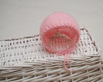 Classic Newborn Bonnet Prop; Knitted Bonnet; Newborn Mohair Bonnet, Knit Newborn Hat; Baby Girl Bonnet; Round Bonnet; Pink; Newborn Prop