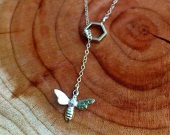 Bumble Bee and Honeycomb Necklace, Honey Bee Necklace, Honeycomb Necklace, Sterling Silver Bee, Hexagon Necklace, Lariat