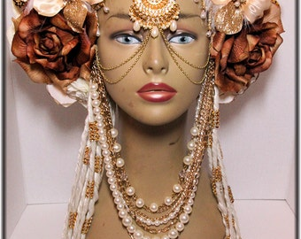 ReadyToShip-CreamGold with warm White LED lights Horns, Head dress, Bellydance, Burning Man, Fantasy Wear,Fairy Headpiece, burlesques
