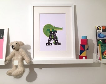 A is for Aligator- art print