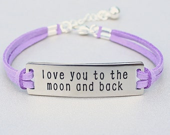 Love You To The Moon And Back , Stainless Steel Bracelet, Faux Suede Leather Cord, AdjustableW/ Ext. Chain, Gift For Her, Under 20, ST755