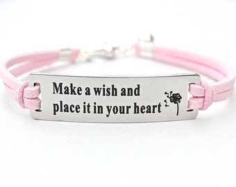 Make A Wish And Put It In Your Heart , Dandelion Wishes , Adjustable Faux Suede Leather Cord Bracelet, Gift For Her, Under 20 , ST755