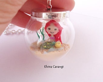 the little mermaid ariel in the glass globe necklace