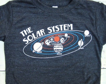Solar System  toddler shirt. Toddler space tshirt. Planets shirt. American Apparel.