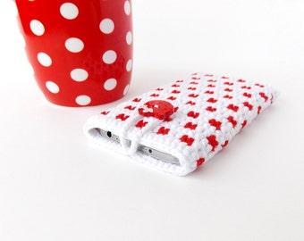 Samsung Galaxy S3 phone case, White Red Galaxy S4 polka dot pouch, Kitty button Nokia Lumia 1020 cozy, white red polkadot crochet phone sock