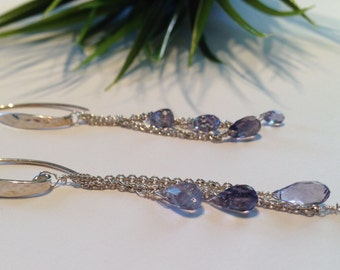 Teardrops of Iolite Periwinkle Blue Sterling Silver Dangling Earrings Watery Blue