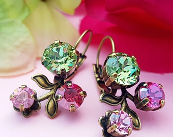 Crystal Earrings, Bronze Flower Earrings, Pink and Green, Peridot Earrings, Light Pink Earrings, Fuchsia Crystal, Swarovski, Floral, E3947