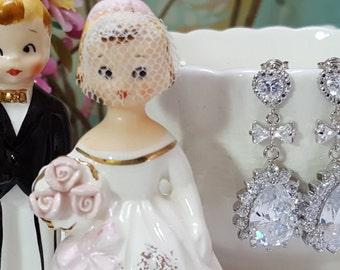 Sparkly Heart Earrings, CZ Teardrops, Bridal Bow Earrings, Silver Wedding Jewelry, Anniversary Present, Romantic Girlfriend Gift, E2078
