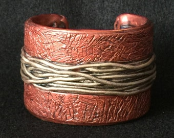 Cuff Bracelet Bangle Boho Polymer Clay Mid Century Modern Jewelry WIRED by Donna Pellegata ArtCirque