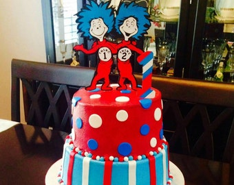 """THING 1 and THING 2 Die Cut 7"""" wide CAKE topper and Number 1 topper.  Dr. Seuss, books, cat in the hat,"""
