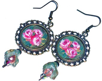 Rose Pendant Earrings Vintage Style Hand Painted Romantic Dangle Earrings
