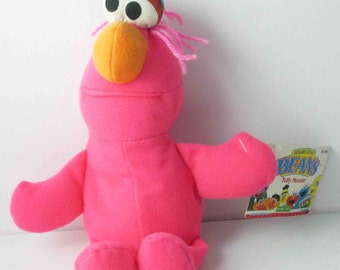 Small Pink Telly Monster Beans Sesame Street Plush Tyco 1990s With Tag