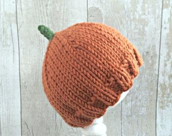Newborn Pumpkin Hat, Baby Pumpkin Hat, Infant Pumpkin Costume, Halloween Costume Baby, October Pregnancy Announcement, Fall Baby Hats