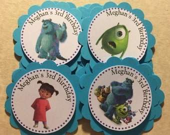 Monsters Inc Children's Birthday Theme, Party Favor Tags, Party Supplies for Kids Birthday. Candy Buffet Tags