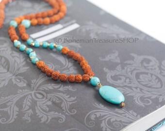 Mala Necklace - 108 Mala Beads - Turquoise Rudraksha Necklace - Long Boho Necklace - Howlite Turquoise Bead Necklace - Yoga Calming Necklace