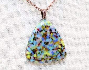Fused Glass Necklace - Triangle Pendant Necklace - Long Necklace  - Multi Color Fused Glass Pendant