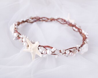 seashell crown, starfish crown, starfish halo, mermaid crown, seashell halo, beach wedding crown, starfish headpiece - SEA MIST