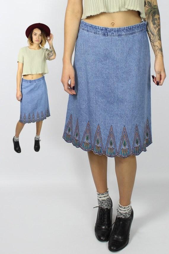 denim midi skirt knee length chambray skirt