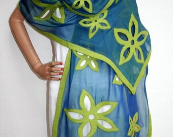 Wearable Fiber Art - Women's Accessory - Felted Shawl Made of Blue Silk and Green Wool