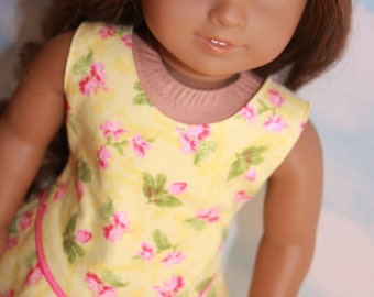 18 Inch Doll (like American Girl) Yellow and Pink Floral Print Sundress with Pink Piping