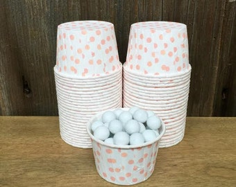 Peach and White Paper Snack Cups - Set of 48 - Polka Dot Candy Cup - Birthday Party - Mini Ice Cream Cup - Coral Nut Cup - Same Day Shipping