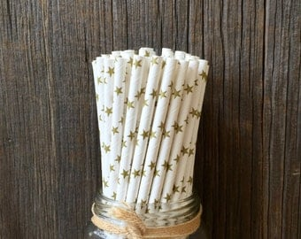 75 Gold Star Paper Drinking Straws