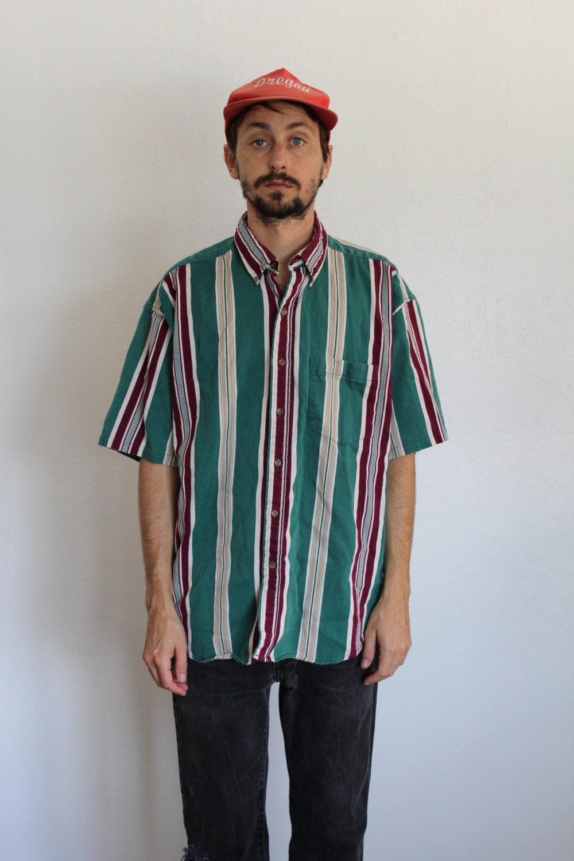 Striped button up shirt teal magenta mens xl for Mens teal button down shirt