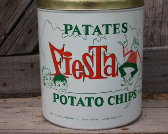 Patates Fiesta One Pound Potato Chip Tin from Montreal, Canada