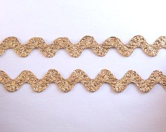 """Gold Rick Rack Trim - 4 Yards of 5/8"""" Wide Vintage Jumbo Metallic Gold Rick Rack Trim - 15 mm Rick Rack - Giant Rick Rack #MT-01"""