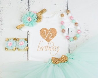 HALF BIRTHDAY Baby Girl Tutu Outfit,Six Month Photo Outfit,6 Month Birthday Bodysuit,Headband,Necklace,Sandal,Mint Pink Gold 1/2 Heart
