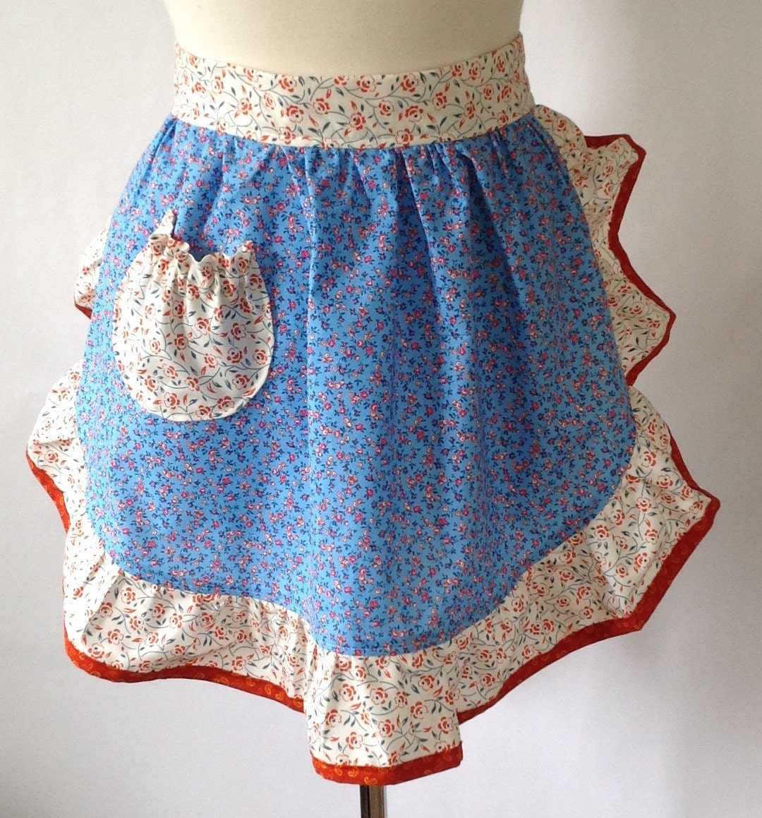 White waist apron ruffle - Half Apron Blue Country Flowers Pink Rosebuds Waist Apron Ruffled Apron