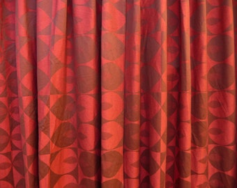 Mid Century Drapes Red Maroon Curtains Mid Century Modern Pinch Pleat Curtains or Drapes or Drapery Panels Abstract Geometric Op Art Textile