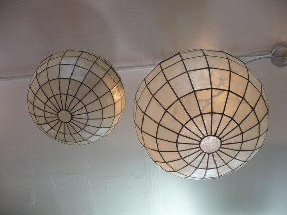 pair of capiz shell pendant globe lights. Black Bedroom Furniture Sets. Home Design Ideas