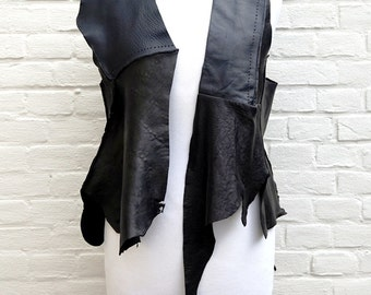 Shabby chic Rock Edgy Leather Vest Top size S/M   Artistic Leather Clothing