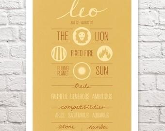 "LEO Zodiac Print, Poster, Illustration of Birth Sign, Wall Art, Decor, Constellation, ""LEO"" Birthday Design"