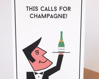 Celebration card // Congratulations // Hooray! // Champagne
