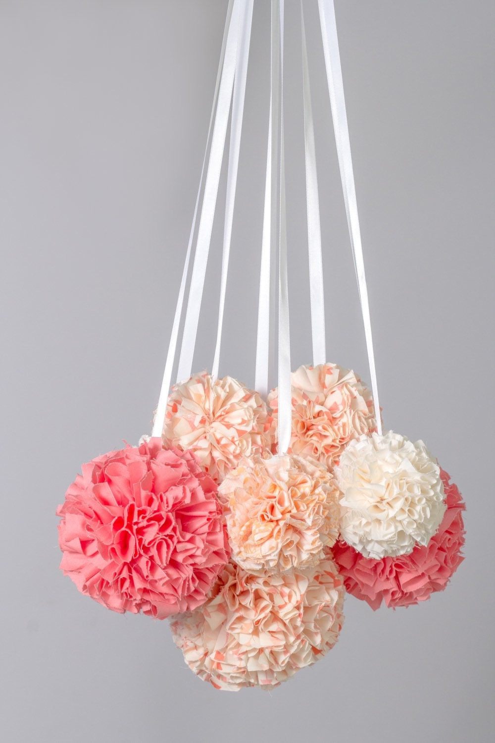 Hanging pom pom mobile nursery mobile crib mobile custom for Hanging pom poms from ceiling