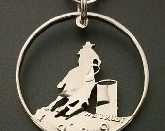 Barrel Racer pendant cut from a half dollar coin jewelry necklace handmade