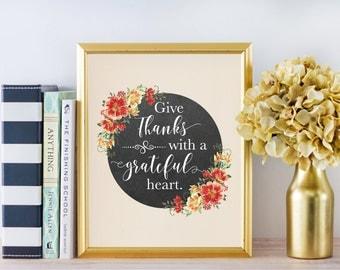 Give Thanks Sign - Fall Decor - Thanksgiving Decor - Thankful Sign - Fall Sign - Christian art - Autumn Decorations - Christian wall art