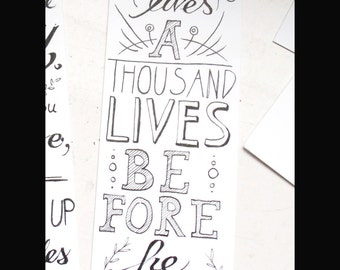 Hand-lettered quote bookmark George R. R. Martin
